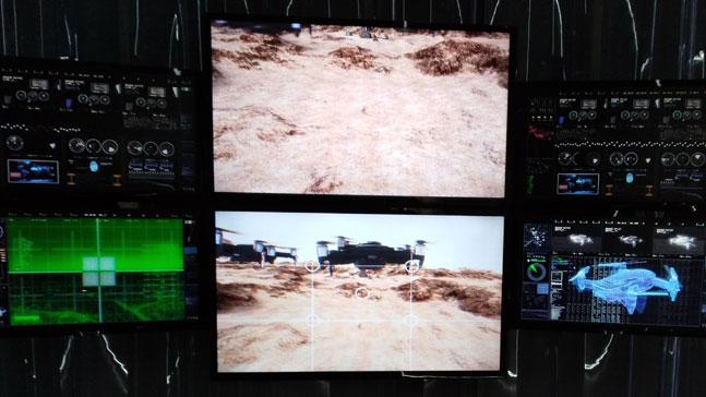 tecnología y futuro, drones sobre campos desérticos